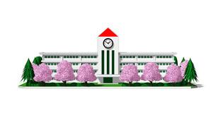 入学式 桜の校舎のイラスト素材 [FYI04742818]