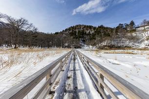 雪解けが進む湯ノ平湿原に架かる木道の写真素材 [FYI04743251]