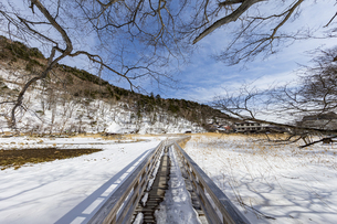 雪解けが進む湯ノ平湿原に架かる木道の写真素材 [FYI04743255]
