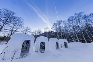 奥日光湯元温泉雪まつりのかまくらと氷の彫刻の写真素材 [FYI04743260]