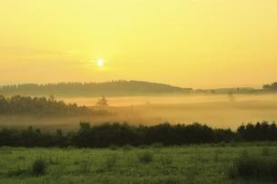 新栄の丘 朝霧と太陽の写真素材 [FYI04743468]