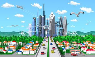 未来環境都市 カモメ 町並みのイラスト素材 [FYI04743806]
