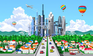 未来環境都市 入道雲 気球 ジェット機 町並みのイラスト素材 [FYI04743811]