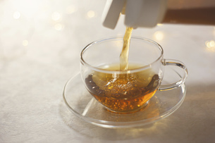 お茶をグラスに入れる。水分補給、おうち時間、休憩時間。の写真素材 [FYI04744116]