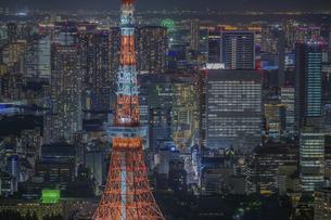東京タワーとビル群の夜景の写真素材 [FYI04744156]