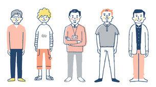 さまざまなタイプの男性5人 全身のイラスト素材 [FYI04745266]