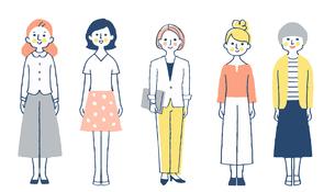 さまざまなタイプの女性5人 全身のイラスト素材 [FYI04745267]