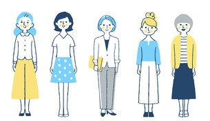 さまざまなタイプの女性5人 全身のイラスト素材 [FYI04745269]