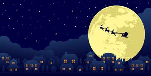 クリスマスイメージ(サンタクロース・夜景)バナーイラストのイラスト素材 [FYI04745290]