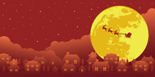 クリスマスイメージ(サンタクロース・夜景)バナーイラストのイラスト素材 [FYI04745291]