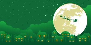 クリスマスイメージ(サンタクロース・夜景)バナーイラストのイラスト素材 [FYI04745293]