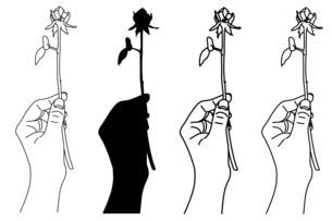 一輪の薔薇を持った手の白黒イラストのイラスト素材 [FYI04745365]