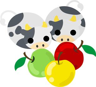 りんごをじっと見ているぬいぐるみのようなころころ牛たちのイラストのイラスト素材 [FYI04745432]