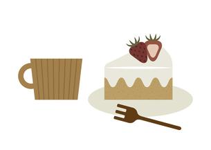 苺のショートケーキとコーヒー イラストのイラスト素材 [FYI04746076]
