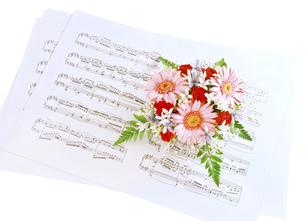 楽譜とアレンジ花の写真素材 [FYI04746089]