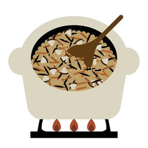 土鍋で炊き込みご飯を作る イラストのイラスト素材 [FYI04746176]