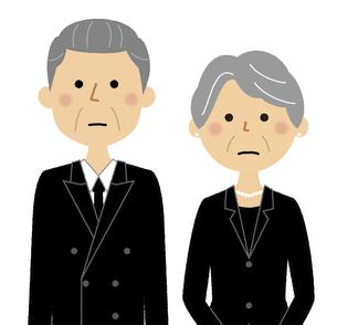 喪服を着た高齢者夫婦のイラスト素材 [FYI04746656]