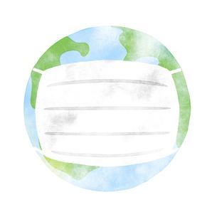 マスクをつけた地球のイラスト素材 [FYI04746810]
