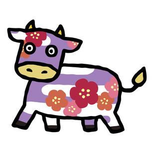 年賀状素材2021年 丑年のイラスト 梅の花模様のコミカルな丑のイラスト素材 [FYI04746881]