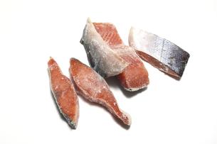 冷凍した鮭の切り身の写真素材 [FYI04747260]