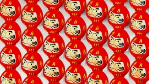Red Daruma dolls on white background. 3D illustration for background.のイラスト素材 [FYI04747438]
