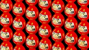 Red Daruma dolls on black background. 3D illustration for background.のイラスト素材 [FYI04747439]