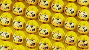 Yellow Daruma dolls on yellow background. 3D illustration for background.のイラスト素材 [FYI04747440]