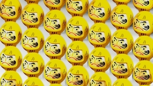Yellow Daruma dolls on white background. 3D illustration for background.のイラスト素材 [FYI04747441]