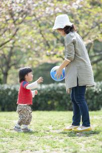 母親とボール遊びをする男児の写真素材 [FYI04747489]