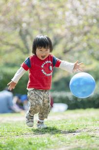 ボール遊びをする男児の写真素材 [FYI04747495]