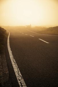 朝靄にたたずむ車とドライバーの写真素材 [FYI04747613]