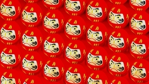 Red Daruma dolls on red background. 3D illustration for background.のイラスト素材 [FYI04747644]