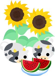 夏の日のぬいぐるみのようなころころ牛たちのイラストのイラスト素材 [FYI04759378]