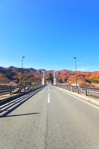 秋の八ッ場ダムと紅葉に八ッ場大橋の写真素材 [FYI04759822]