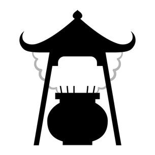 香炉 モノトーン イラストのイラスト素材 [FYI04759988]