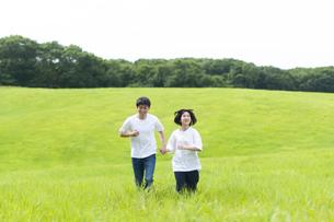 草原を歩くカップルの写真素材 [FYI04760294]