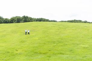 草原で両手を広げるカップルの写真素材 [FYI04760338]