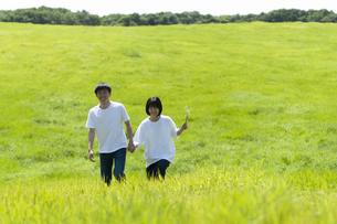 草原を歩くカップルの写真素材 [FYI04760388]