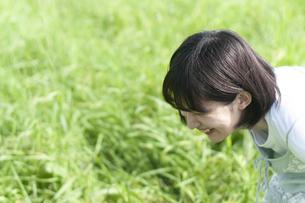 草の中で屈んで笑う女性の写真素材 [FYI04760448]