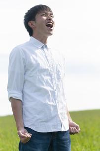 草原の中で叫ぶ男性の写真素材 [FYI04760451]