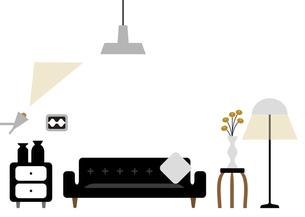 黒いソファーのあるリビングルームのイラスト素材 [FYI04761238]