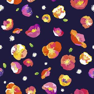 絵画調の春の花によるシームレスパターンのイラスト素材 [FYI04761268]