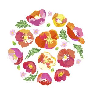 絵画調の春の花によるブーケ素材のイラスト素材 [FYI04761270]
