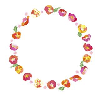 絵画調の春の花による円形フレーム素材のイラスト素材 [FYI04761274]