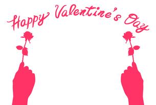 一輪の薔薇を持った手のバレンタインイラスト【はがきテンプレート】のイラスト素材 [FYI04761321]