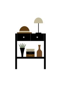 黒い引き出しつき棚と帽子 イラストのイラスト素材 [FYI04761324]
