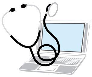 ノートパソコンと聴診器のイラスト素材 [FYI04762099]