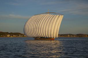 夕暮れの霞ヶ浦の帆引き船の写真素材 [FYI04762610]