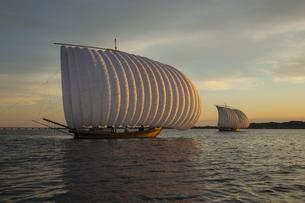 夕暮れの霞ヶ浦の帆引き船の写真素材 [FYI04762611]
