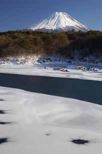 結氷の精進湖と富士山の写真素材 [FYI04762625]